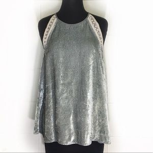 Anthropologie Blank Crushed Velvet Tank Style Top